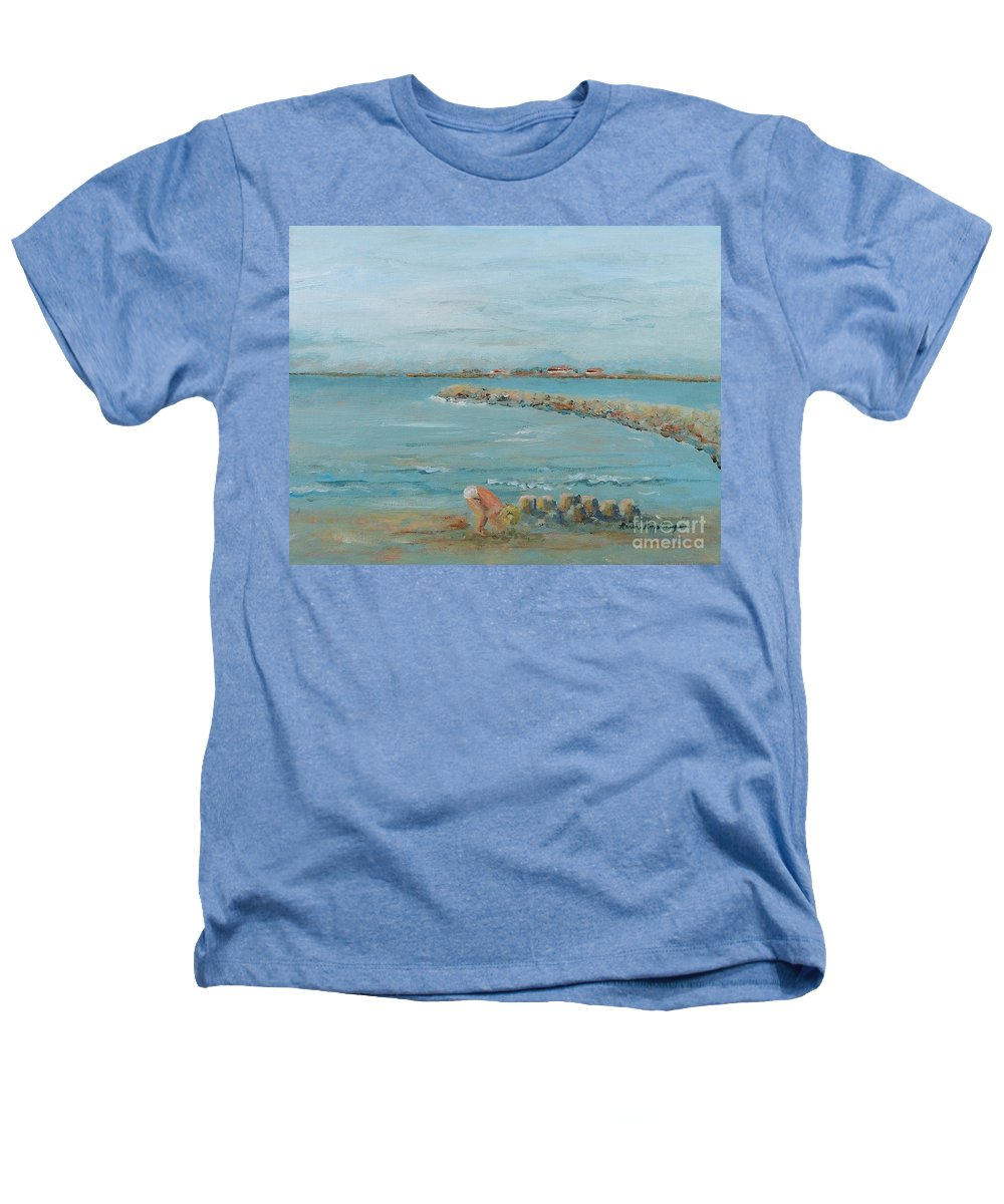 Beach Heathers T-Shirt featuring the painting Child Playing At Provence Beach by Nadine Rippelmeyer