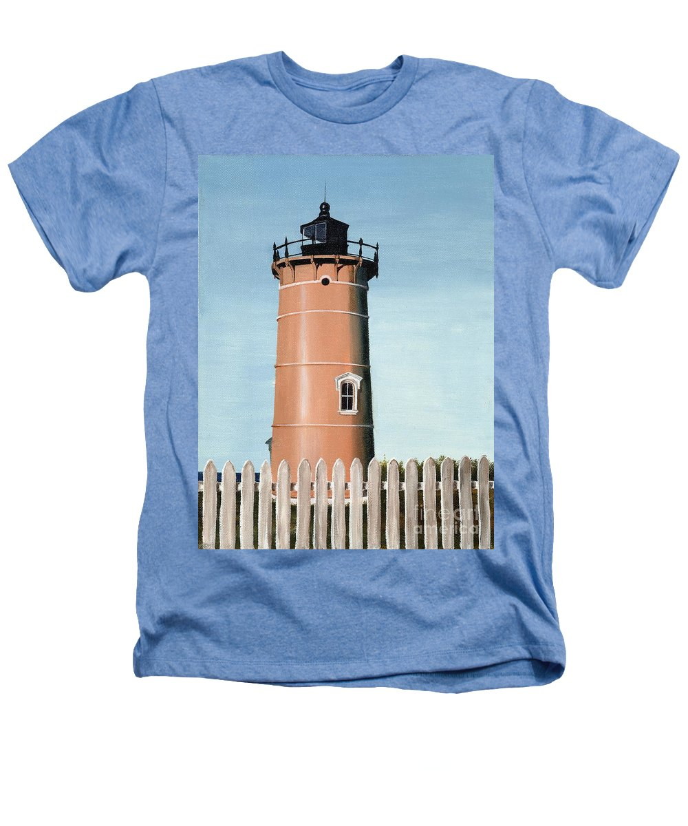 Lighthouse Heathers T-Shirt featuring the painting Chocolate Lighthouse by Mary Rogers