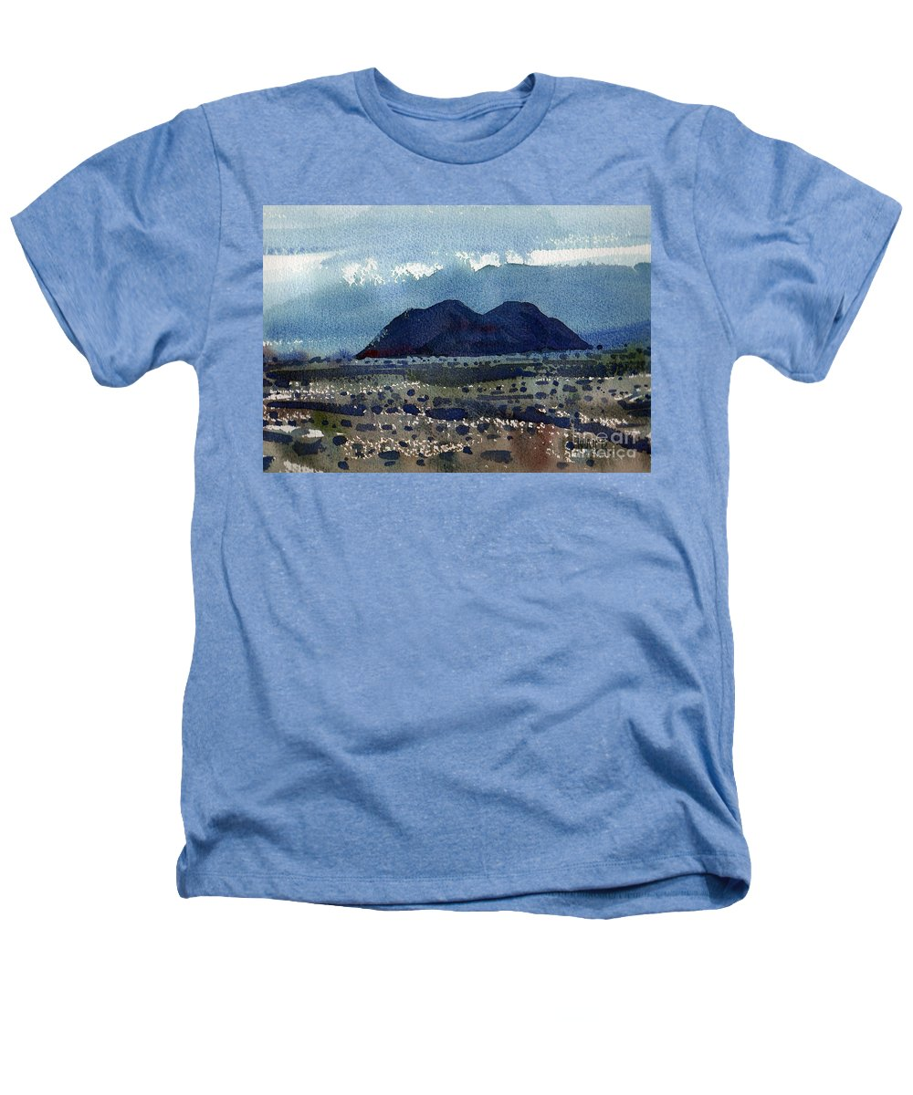 Cinder Cone Heathers T-Shirt featuring the painting Cinder Cone Death Valley by Donald Maier