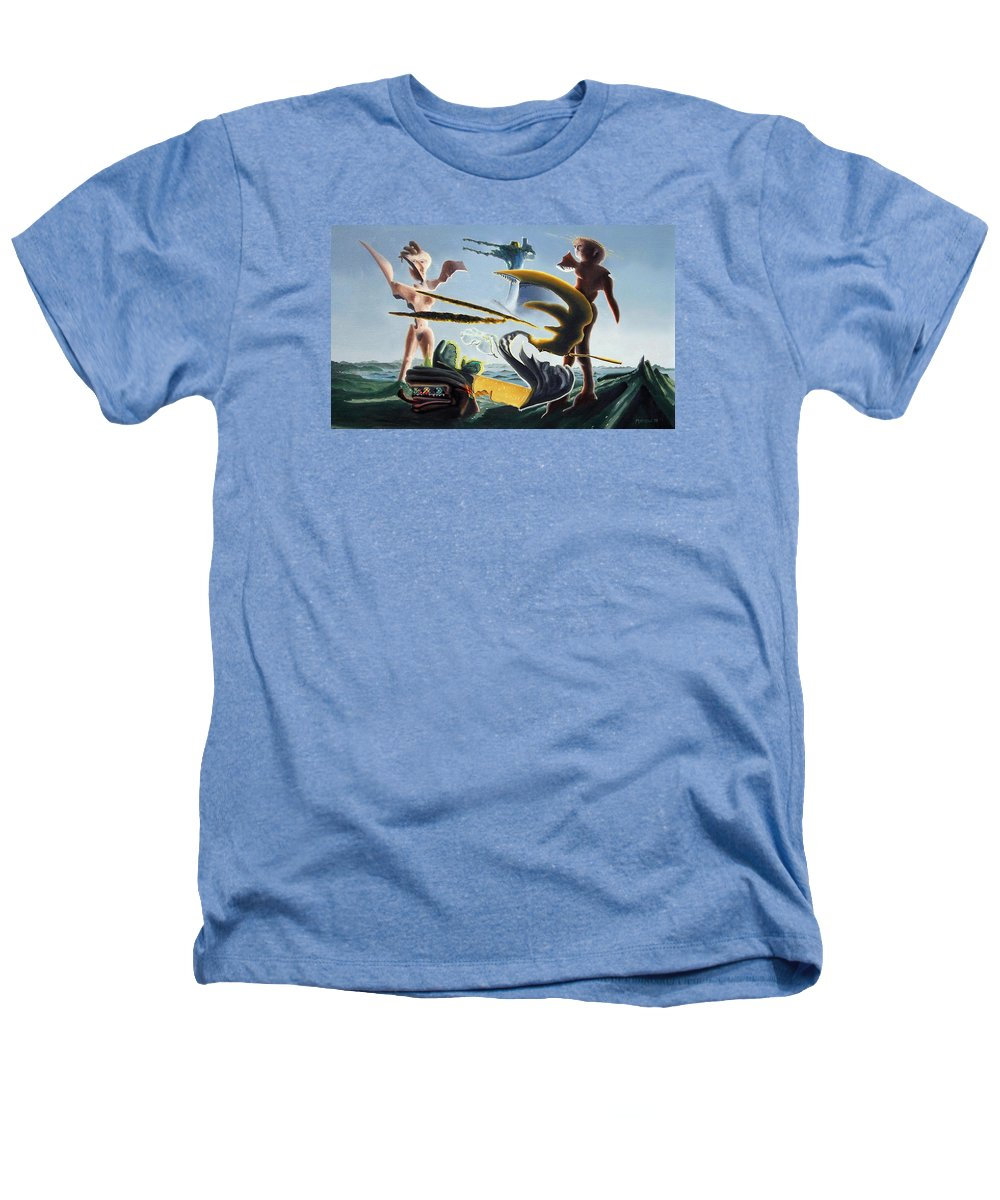 Landscape Heathers T-Shirt featuring the painting Civilization Found Intact by Dave Martsolf