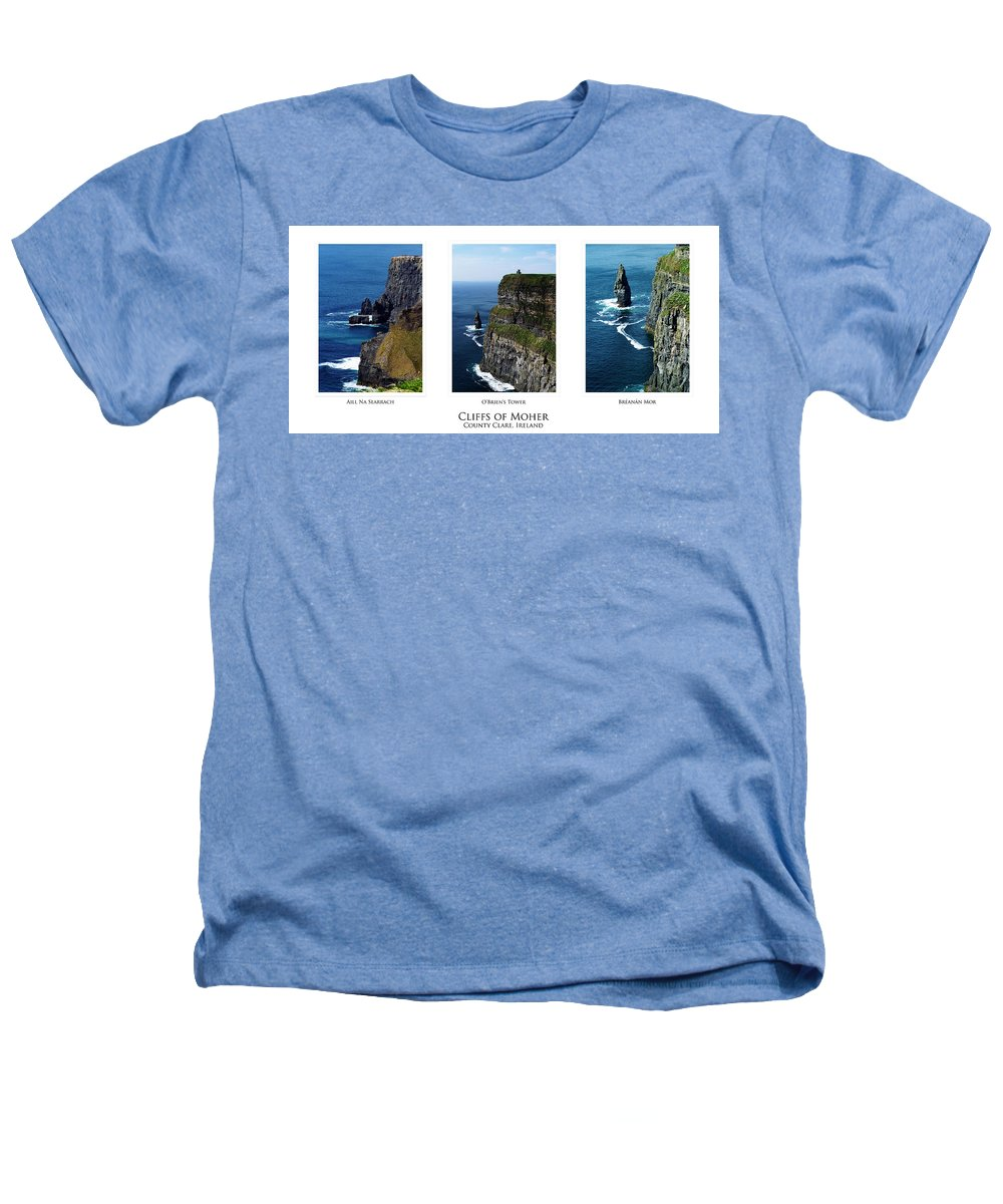 Irish Heathers T-Shirt featuring the photograph Cliffs Of Moher Ireland Triptych by Teresa Mucha