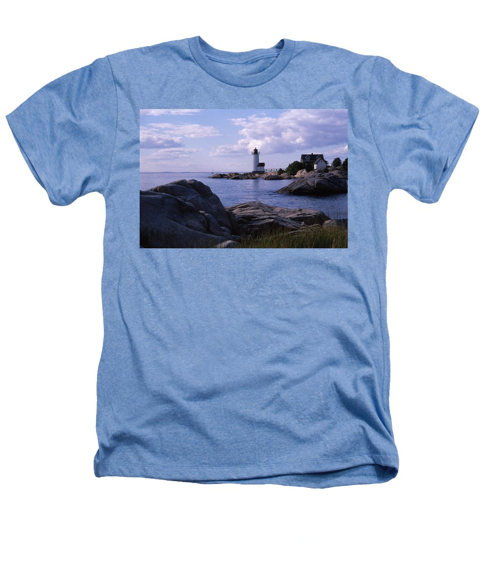 Landscape Lighthouse New England Annisquam Harbor Light Gloucester Heathers T-Shirt featuring the photograph Cnrf0903 by Henry Butz