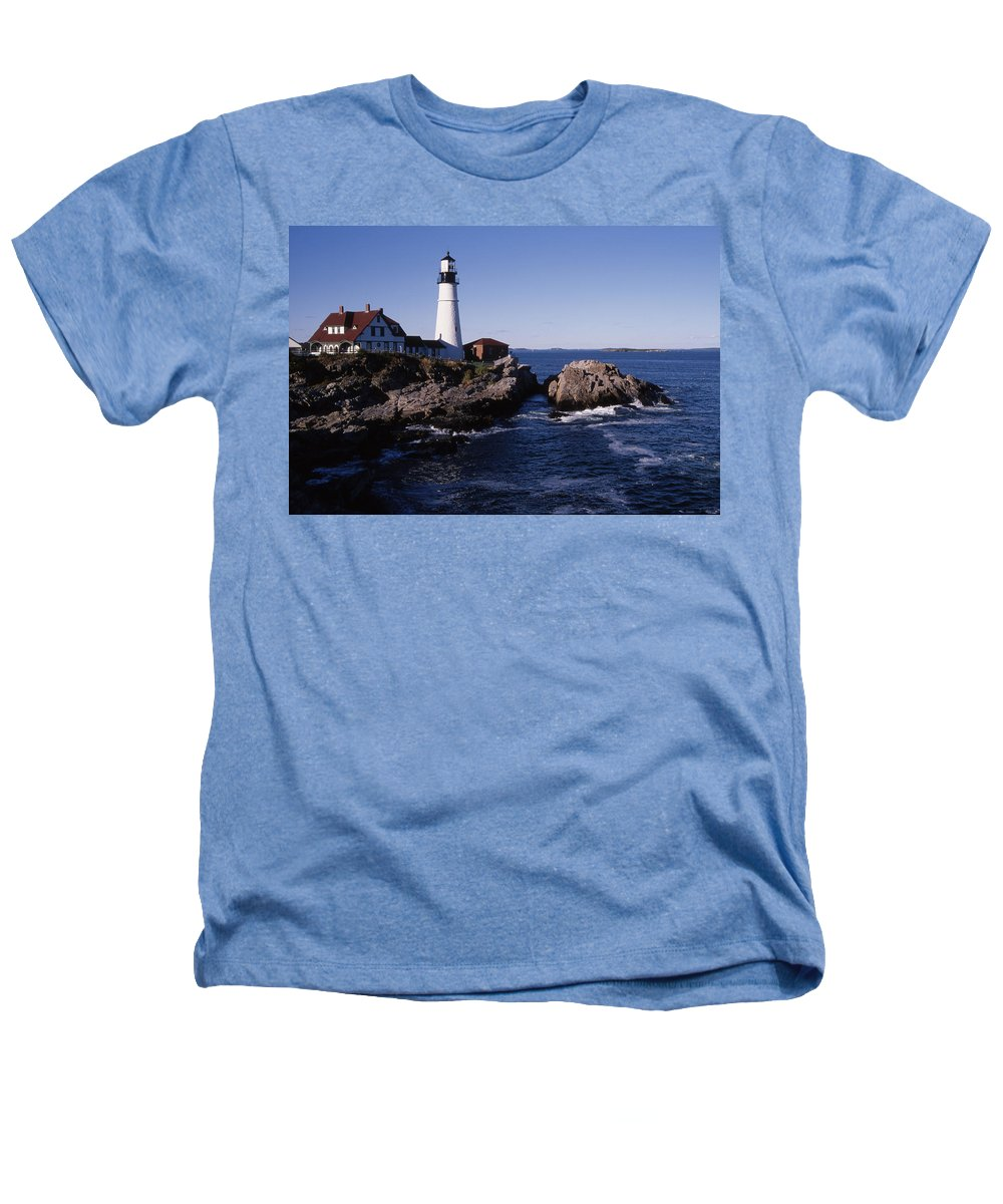 Landscape New England Lighthouse Nautical Coast Heathers T-Shirt featuring the photograph Cnrf0910 by Henry Butz