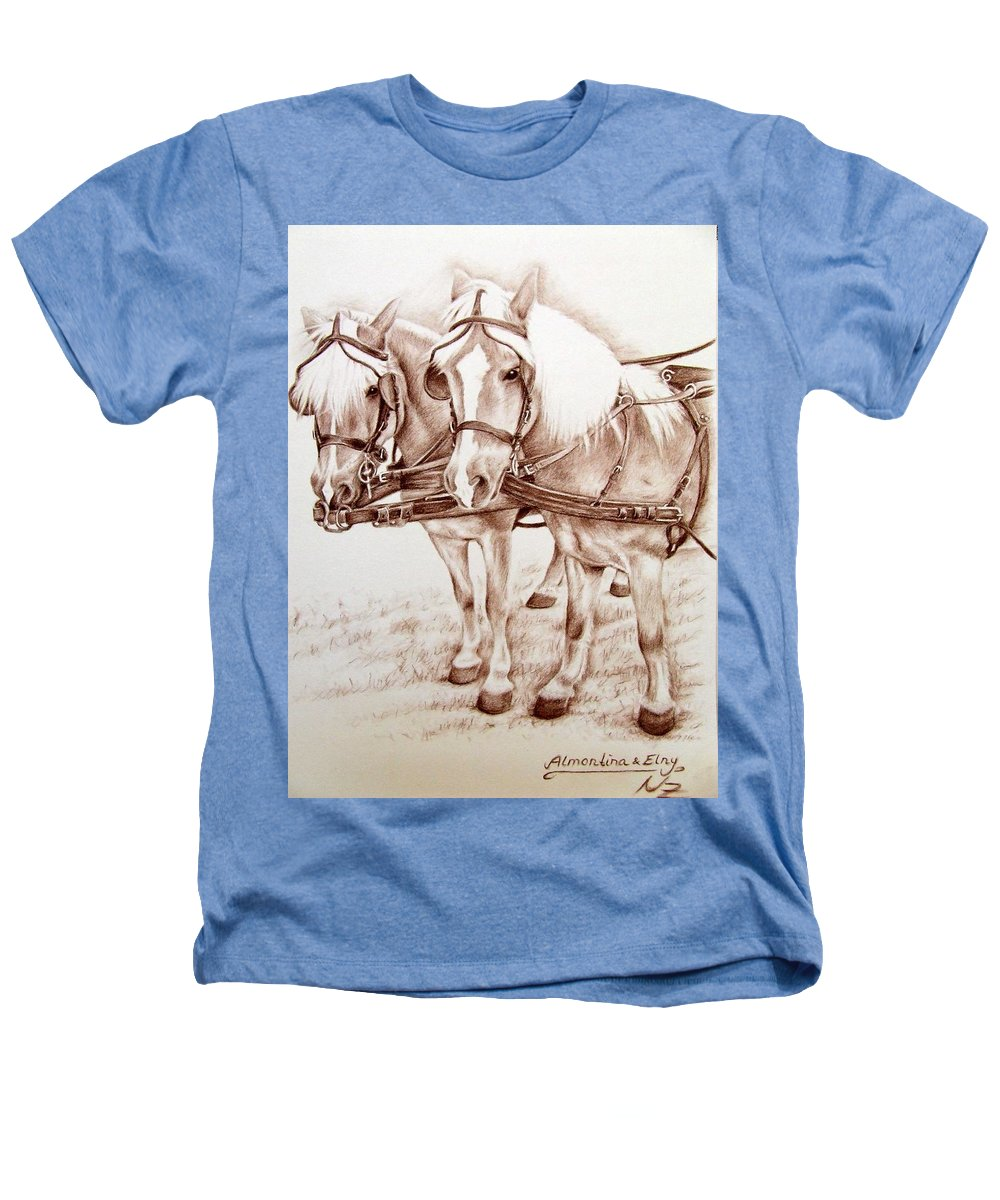 Horses Heathers T-Shirt featuring the drawing Coach Horses by Nicole Zeug