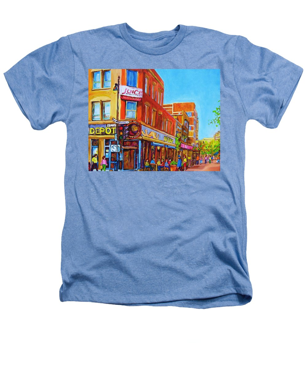 Cityscape Heathers T-Shirt featuring the painting Coffee Depot Cafe And Terrace by Carole Spandau