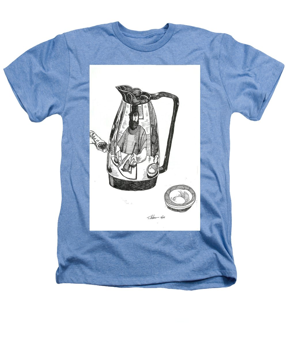 Pen And Ink Heathers T-Shirt featuring the drawing Coffee Pot by Tobey Anderson