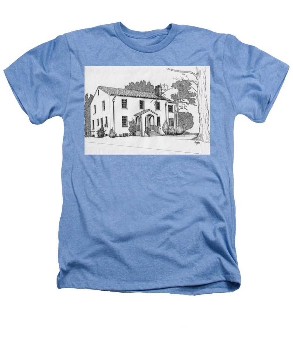 Drawing - Pen And Ink Heathers T-Shirt featuring the drawing Colonel Quarters 2 - Fort Benning Ga by Marco Morales