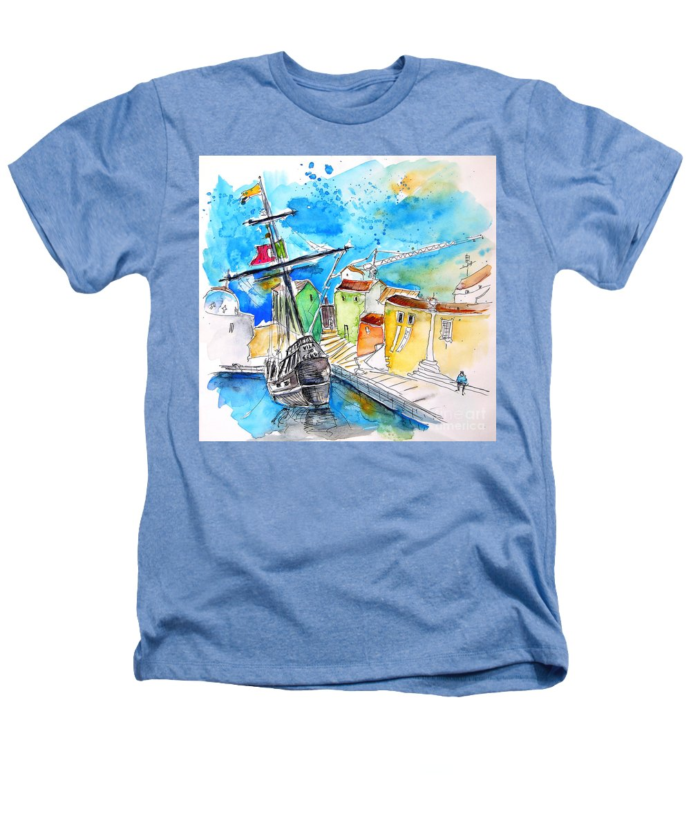 Portugal Heathers T-Shirt featuring the painting Conquistador Boat In Portugal by Miki De Goodaboom