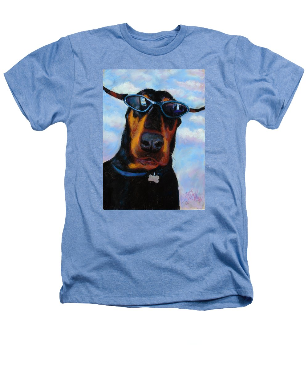 Doberman Pincher Art Heathers T-Shirt featuring the painting Cool Dob by Billie Colson
