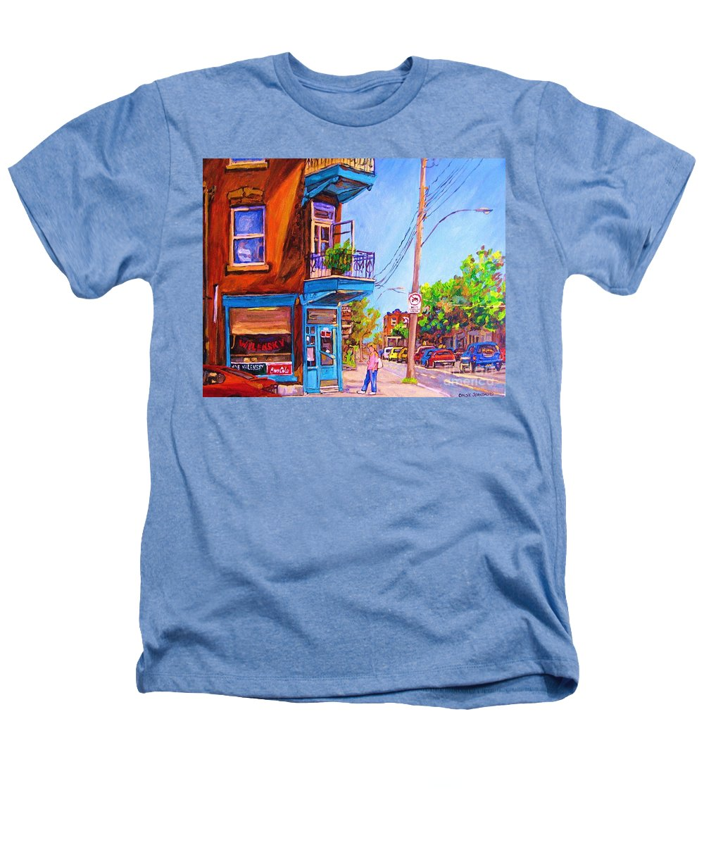 Wilenskys Corner Fairmount And Clark Heathers T-Shirt featuring the painting Corner Deli Lunch Counter by Carole Spandau