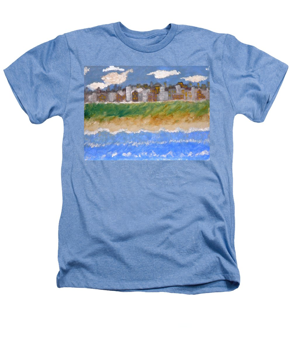 Seascape Heathers T-Shirt featuring the painting Crowded Beaches by R B