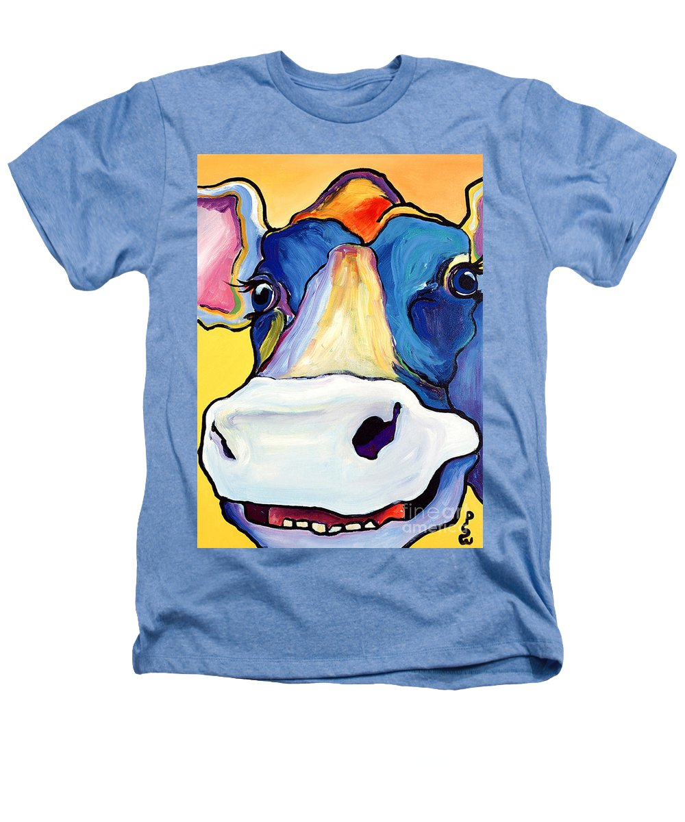 Cow Print Heathers T-Shirt featuring the painting Dairy Queen I  by Pat Saunders-White