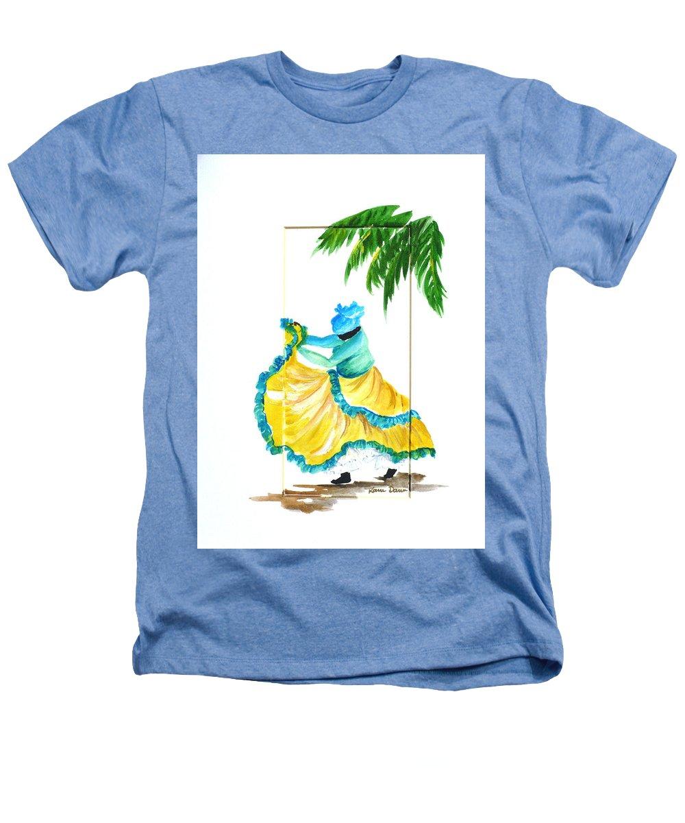 Dance Folk Caribbean Tropical Heathers T-Shirt featuring the painting Dance De Belaire by Karin Dawn Kelshall- Best