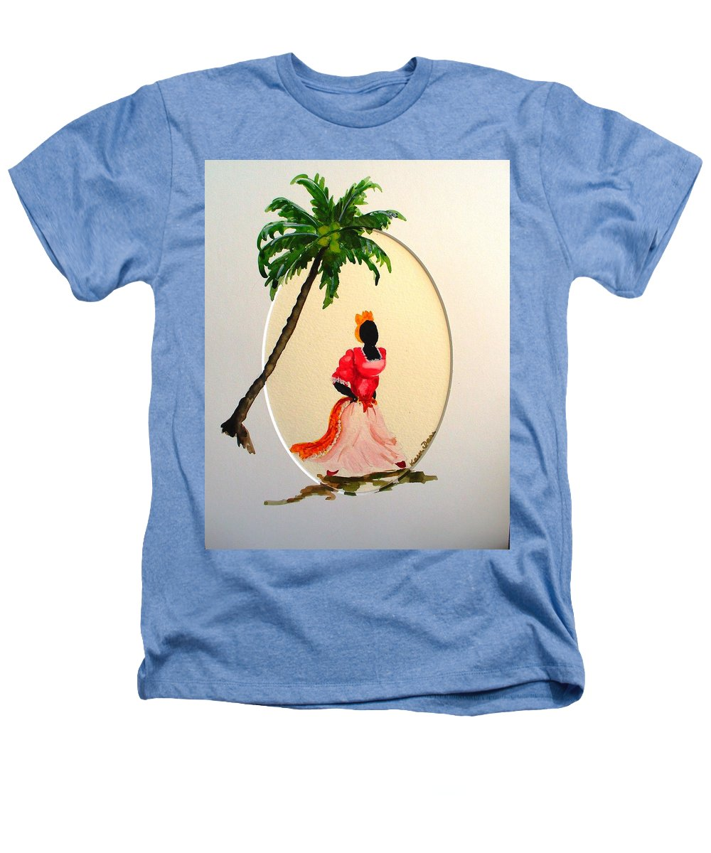 Caribbean Dancer Heathers T-Shirt featuring the painting Dancer 1 by Karin Dawn Kelshall- Best