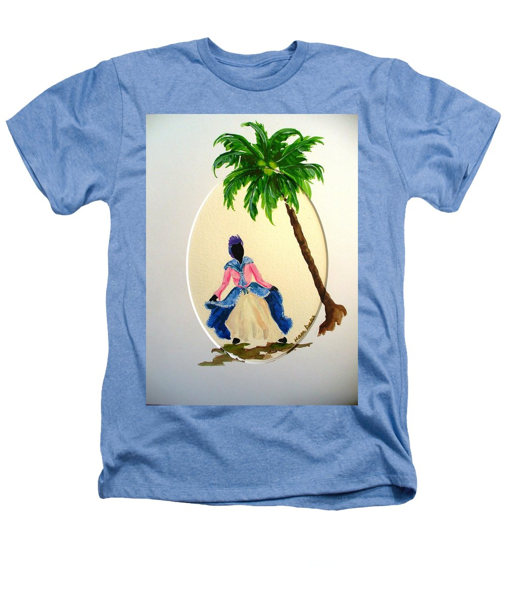 Dancer Caribbean Heathers T-Shirt featuring the painting Dancer 2 by Karin Dawn Kelshall- Best