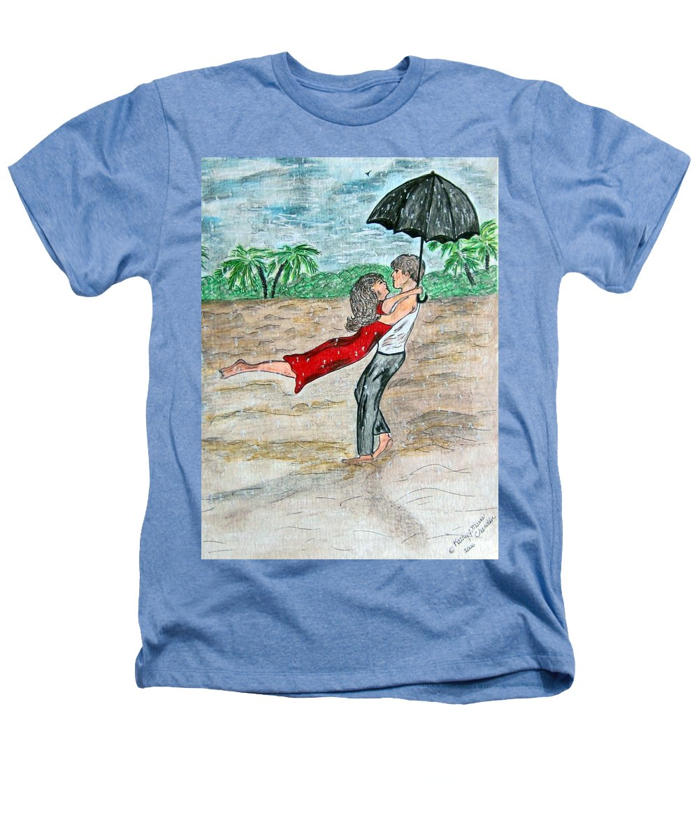 Dancing Heathers T-Shirt featuring the painting Dancing In The Rain On The Beach by Kathy Marrs Chandler