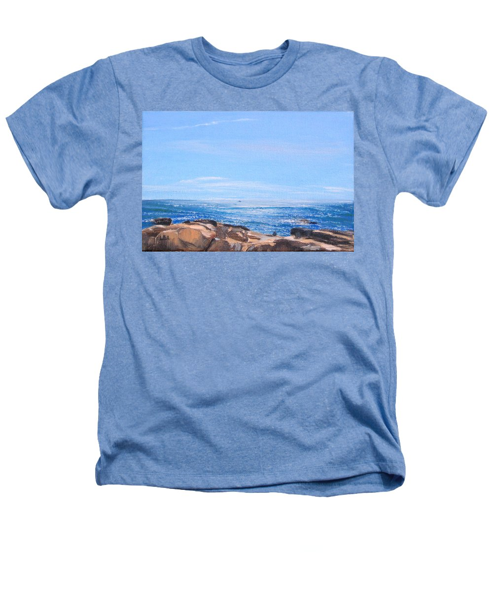 Seascape Heathers T-Shirt featuring the painting Dancing Light by Lea Novak