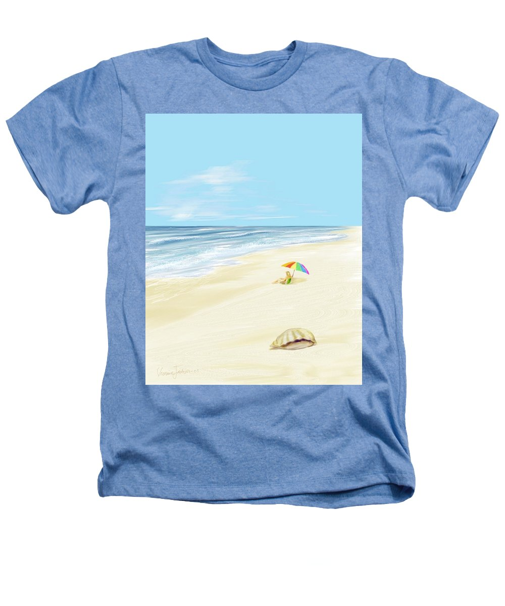 Beach Summer Sun Sand Waves Shells Heathers T-Shirt featuring the digital art Day At The Beach by Veronica Jackson