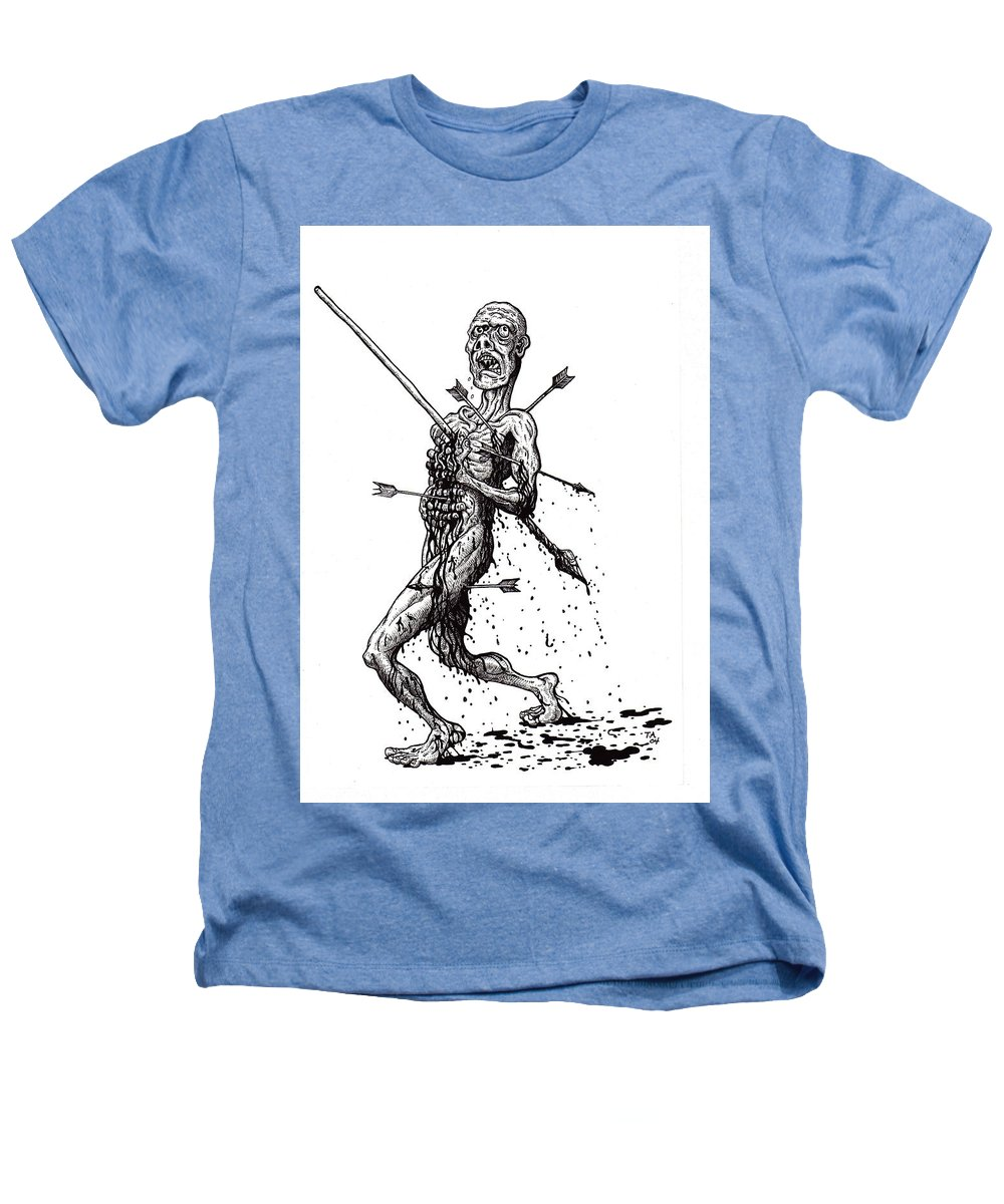 Dark Heathers T-Shirt featuring the drawing Death March by Tobey Anderson