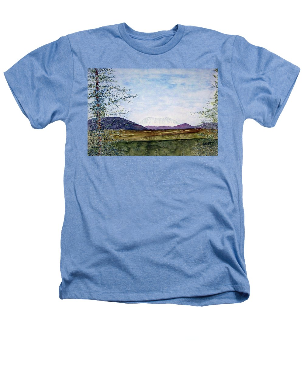 Alaska Art Heathers T-Shirt featuring the painting Denali In July by Larry Wright