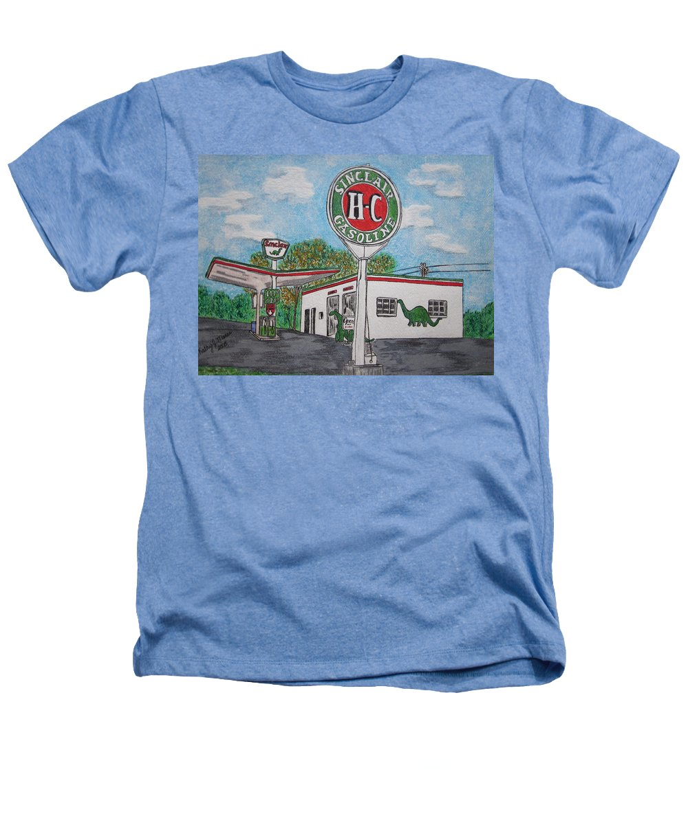 Dino Heathers T-Shirt featuring the painting Dino Sinclair Gas Station by Kathy Marrs Chandler