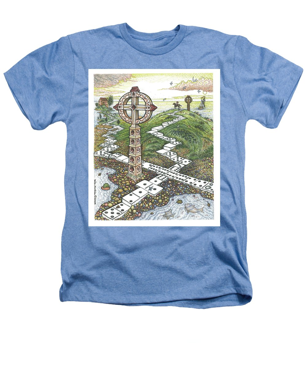 Landscape Heathers T-Shirt featuring the drawing Domino Crosses by Bill Perkins