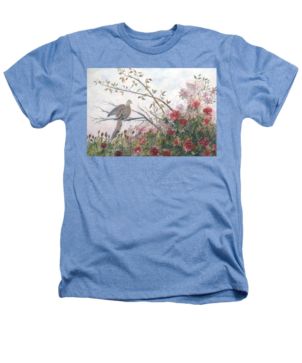 Dove; Roses Heathers T-Shirt featuring the painting Dove And Roses by Ben Kiger