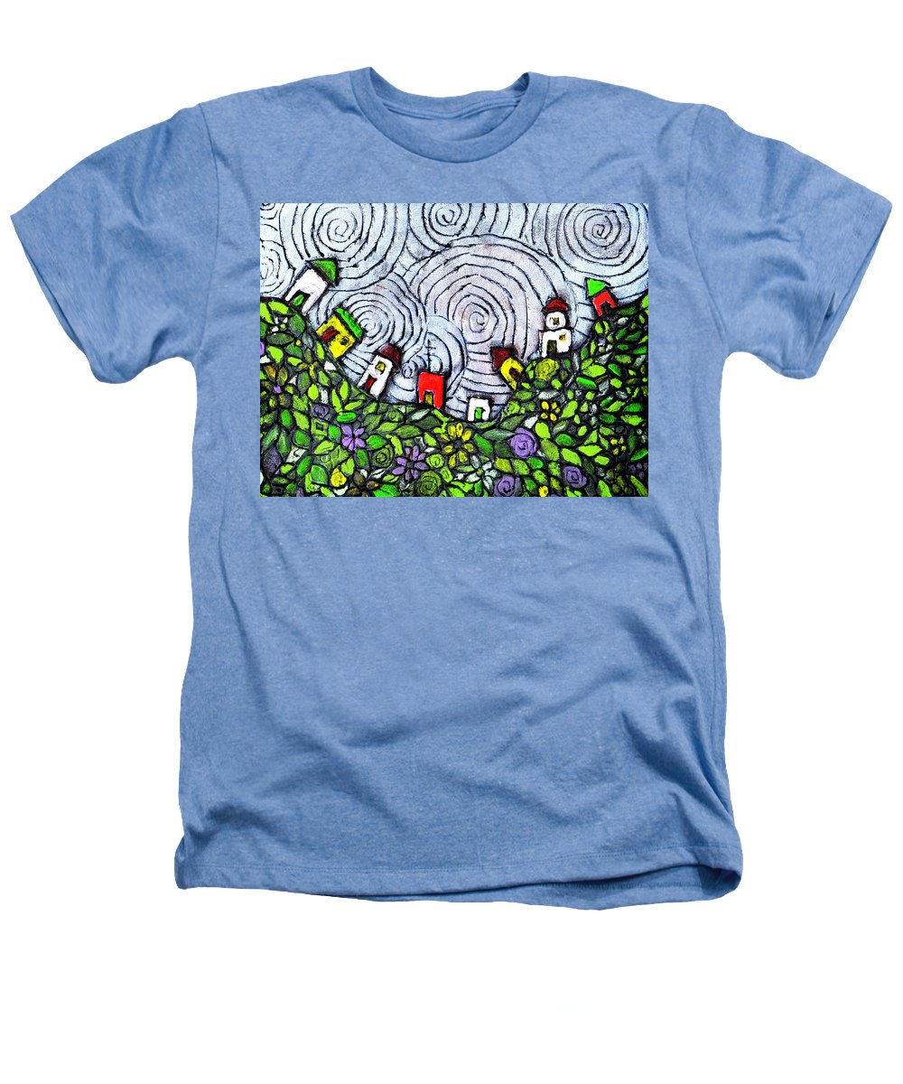 Folk Art Heathers T-Shirt featuring the painting Down In The Valley by Wayne Potrafka