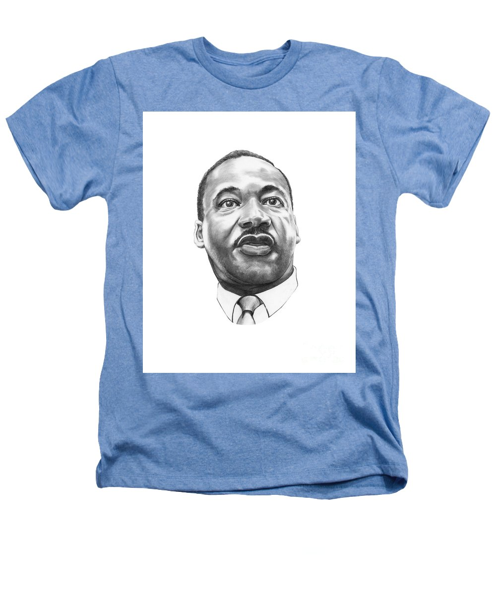 Portrait Heathers T-Shirt featuring the drawing Dr. Martin Luther King by Murphy Elliott