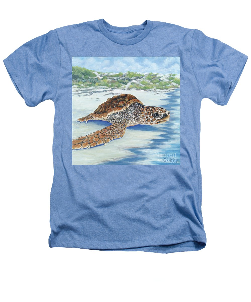 Sea Turtle Heathers T-Shirt featuring the painting Dreaming Of Islands by Danielle Perry