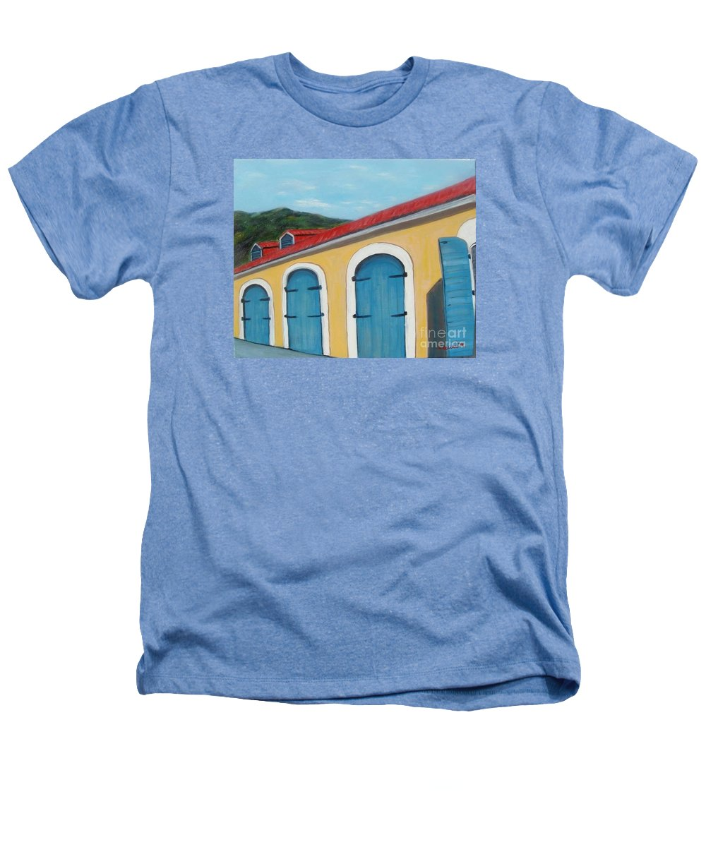 Doors Heathers T-Shirt featuring the painting Dutch Doors Of St. Thomas by Laurie Morgan