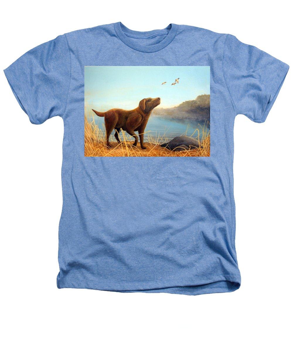 Chocolate Lab Painting Heathers T-Shirt featuring the Dutch by Rick Huotari