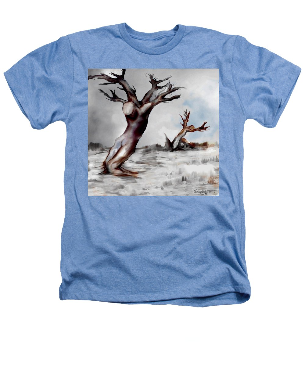 Trees Soul Nature Sky Storm Freedom Heathers T-Shirt featuring the mixed media Earthbound by Veronica Jackson