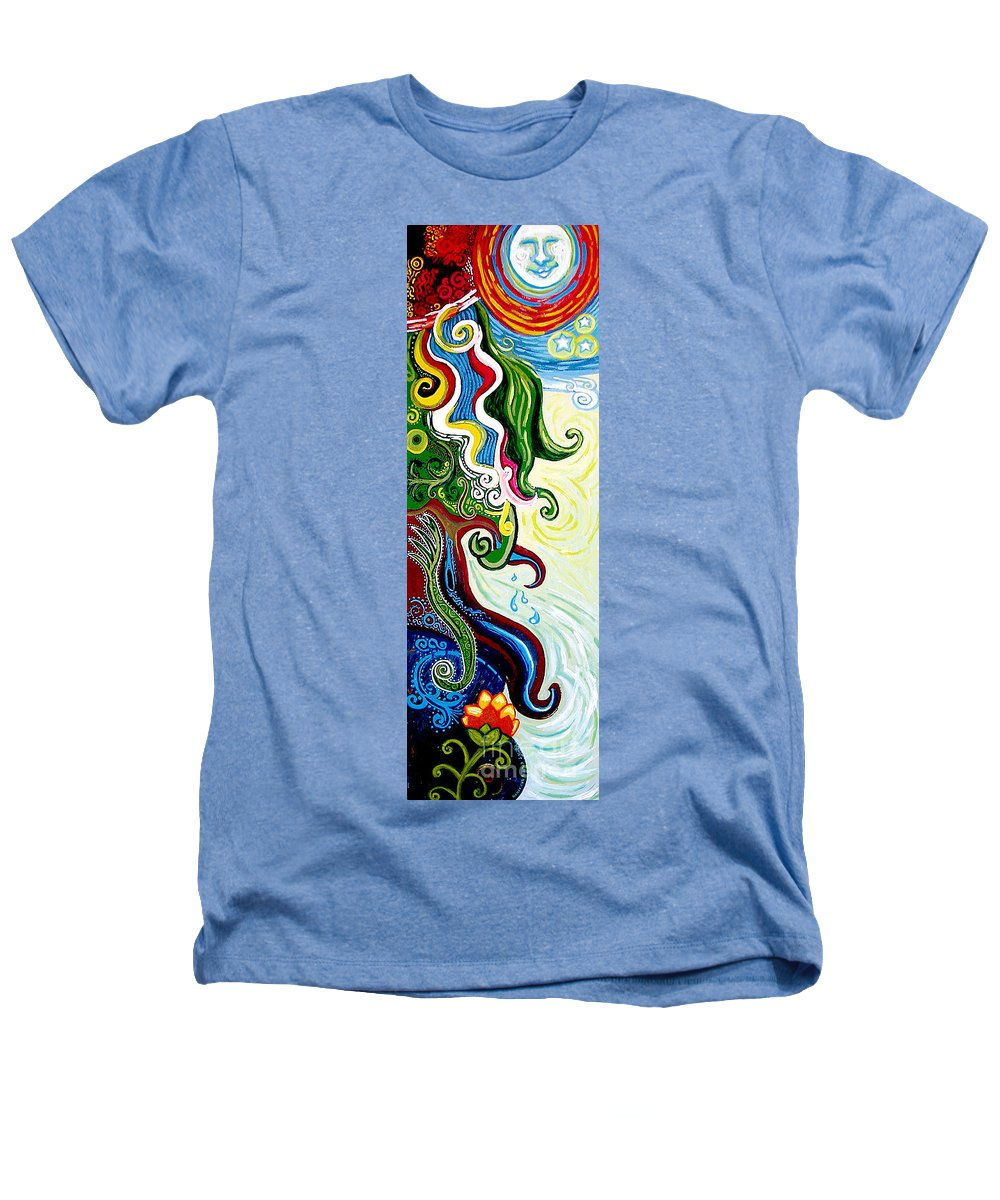 Mother Earth Heathers T-Shirt featuring the painting Earths Tears by Genevieve Esson