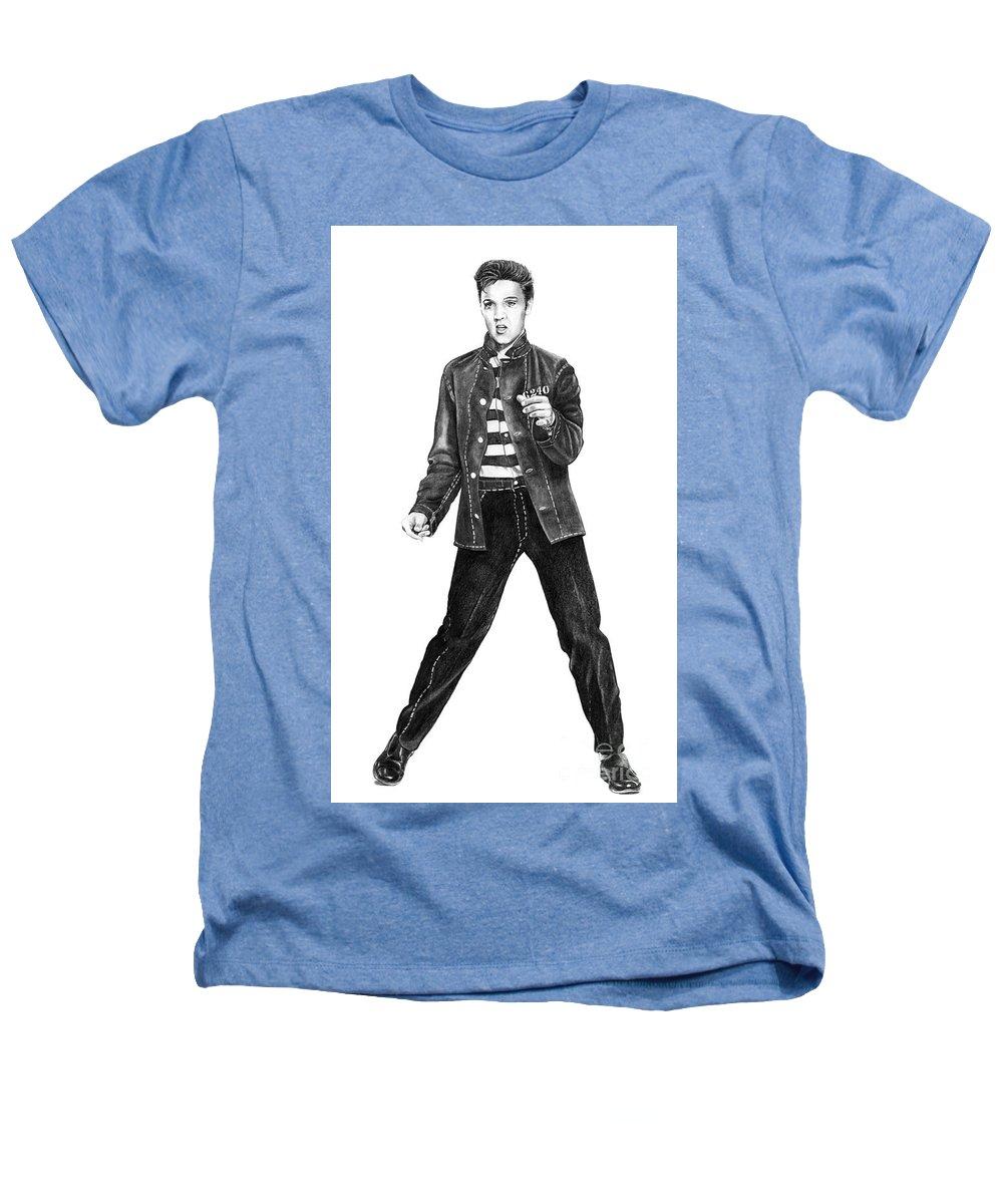 Elvis Heathers T-Shirt featuring the drawing Elvis Presley  by Murphy Elliott