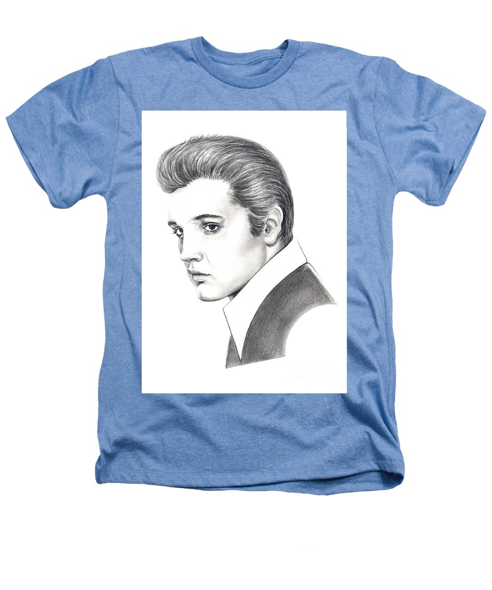 Pencil. Portrait Heathers T-Shirt featuring the drawing Elvis Presley by Murphy Elliott