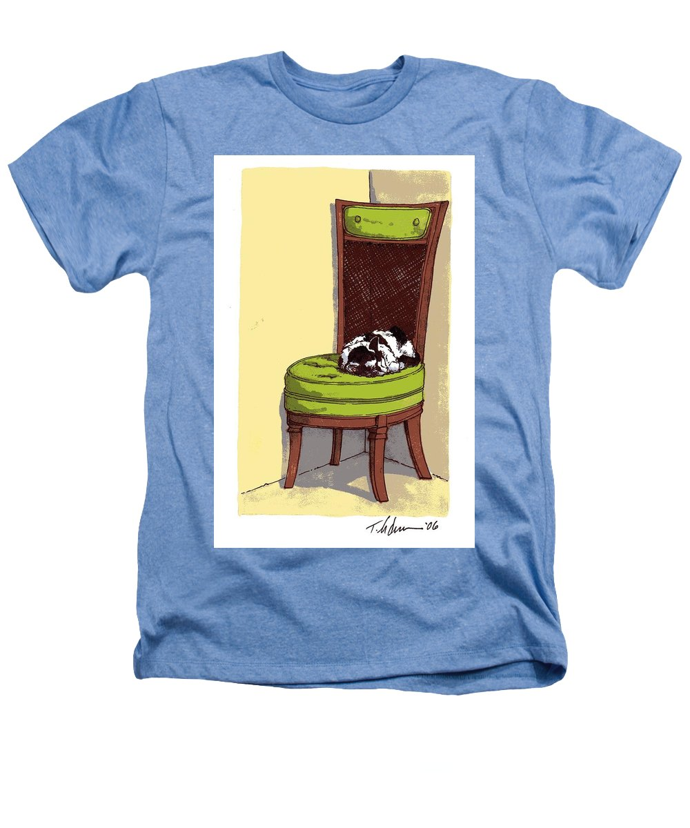 Cat Heathers T-Shirt featuring the drawing Ernie And Green Chair by Tobey Anderson