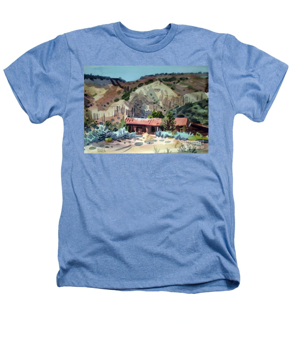 New Mexico Heathers T-Shirt featuring the painting Espanola On The Rio Grande by Donald Maier