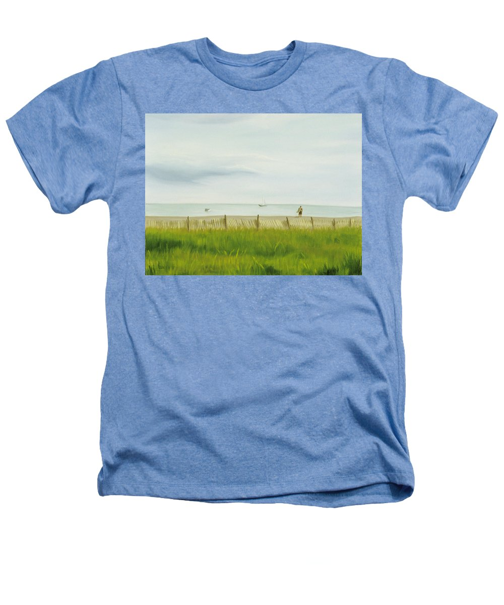 Seascape Heathers T-Shirt featuring the painting Evening At Cape May by Lea Novak