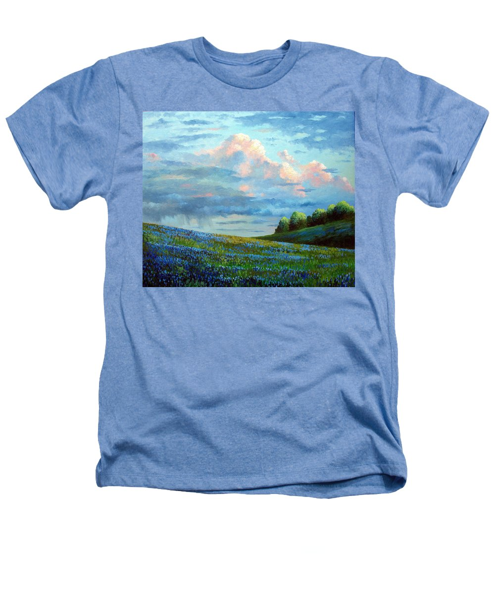 Landscape Heathers T-Shirt featuring the painting Evening Rain by David G Paul