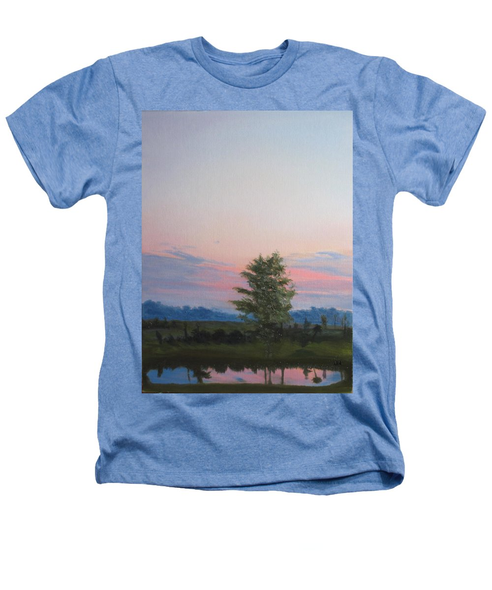 Landscape Heathers T-Shirt featuring the painting Evening Sky by Lea Novak