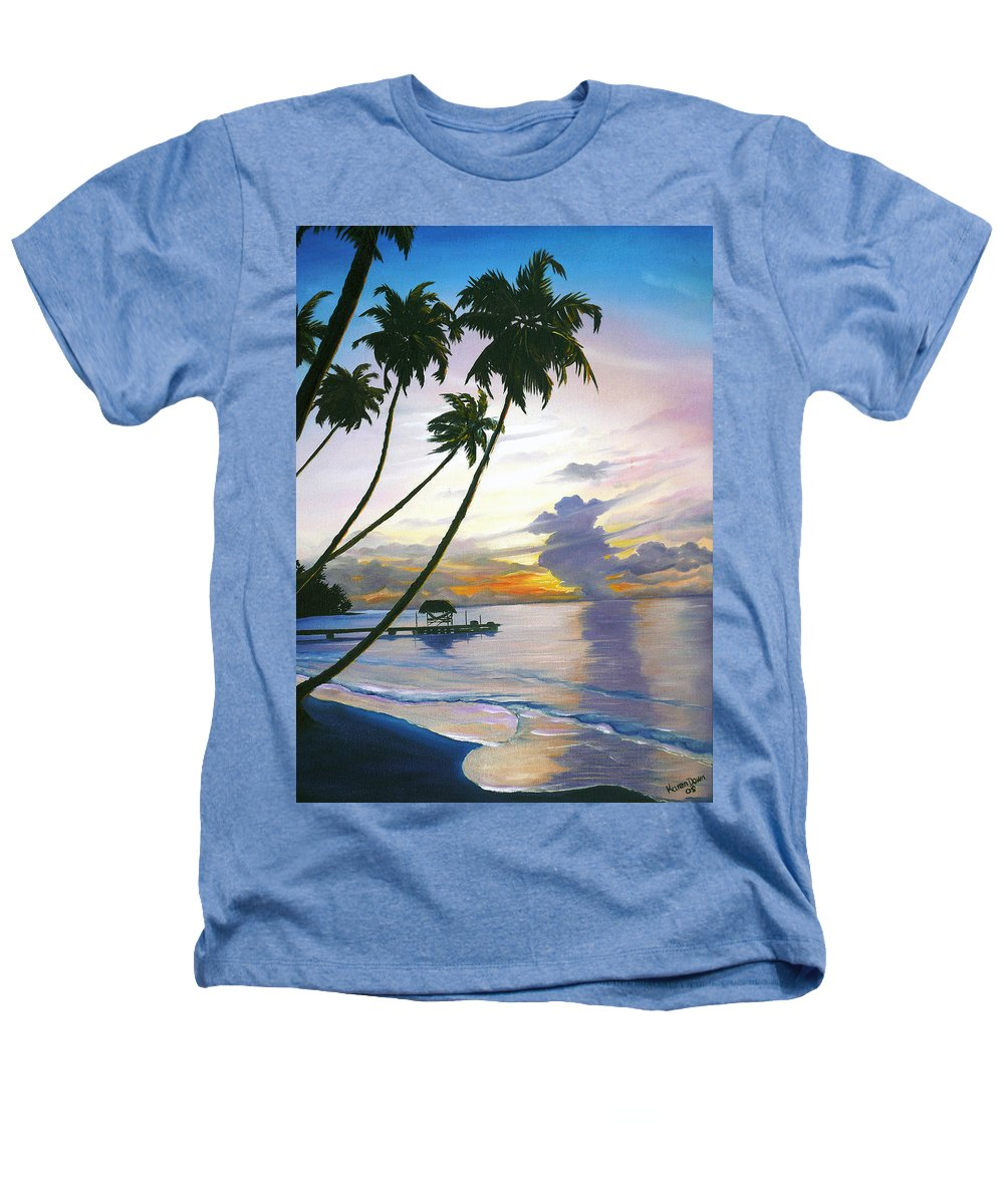 Ocean Painting Seascape Painting Beach Painting Sunset Painting Tropical Painting Tropical Painting Palm Tree Painting Tobago Painting Caribbean Painting Original Oil Of The Sun Setting Over Pigeon Point Tobago Heathers T-Shirt featuring the painting Eventide Tobago by Karin Dawn Kelshall- Best