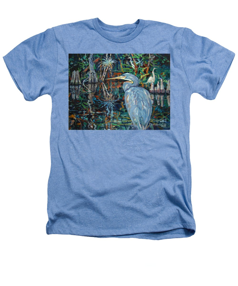 Blue Herron Heathers T-Shirt featuring the painting Everglades by Donald Maier
