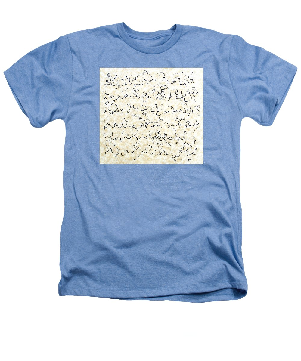 Calligraphy Heathers T-Shirt featuring the drawing Executive Summary With Notes by Dave Martsolf