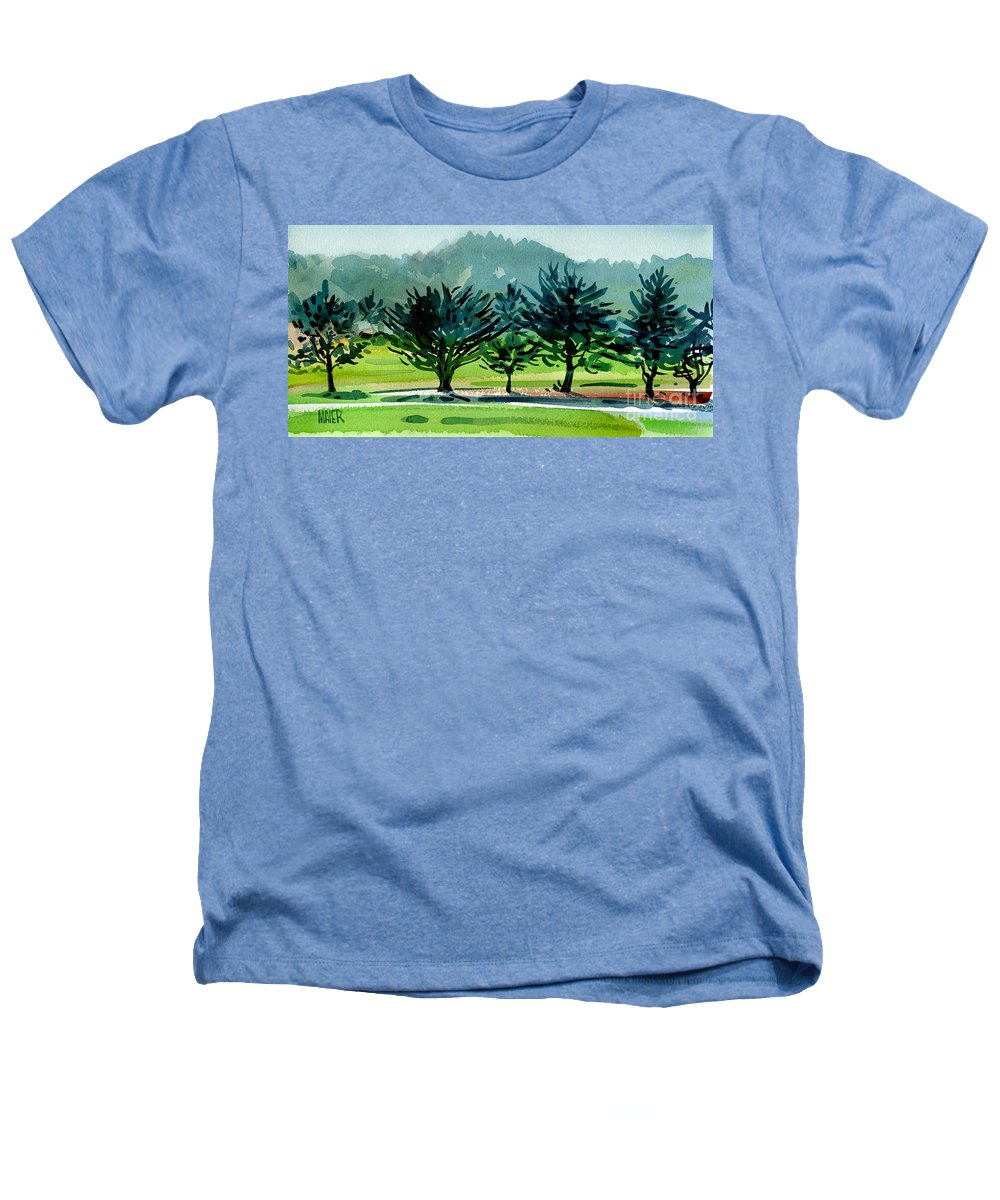 Crystal Springs Heathers T-Shirt featuring the painting Fairway Junipers by Donald Maier