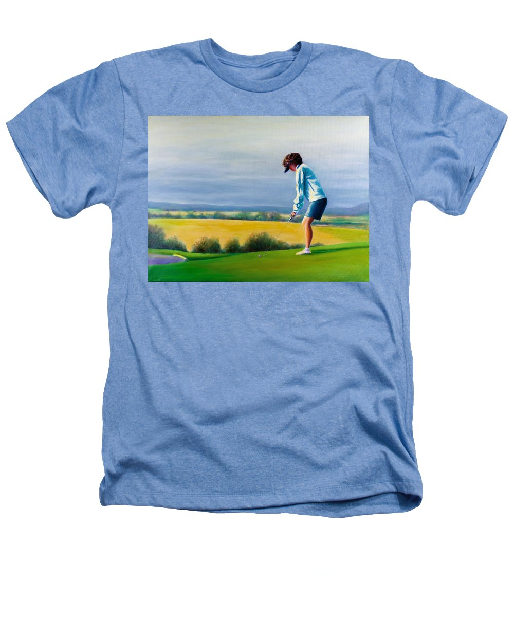 Golfer Heathers T-Shirt featuring the painting Fairy Golf Mother by Shannon Grissom