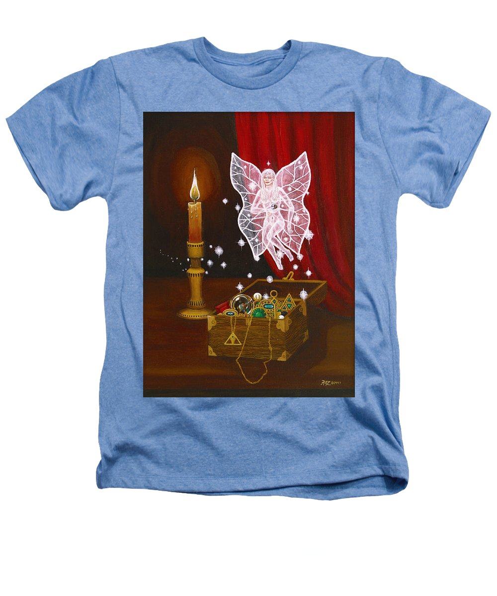 Fairy Heathers T-Shirt featuring the painting Fairy Treasure by Roz Eve