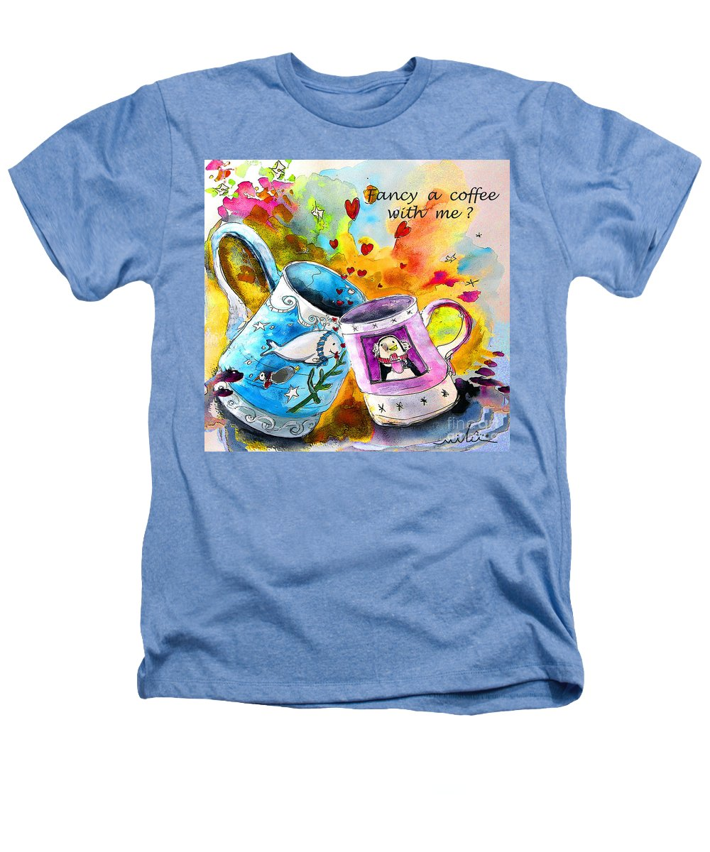 Cafe Crem Heathers T-Shirt featuring the painting Fancy A Coffee by Miki De Goodaboom