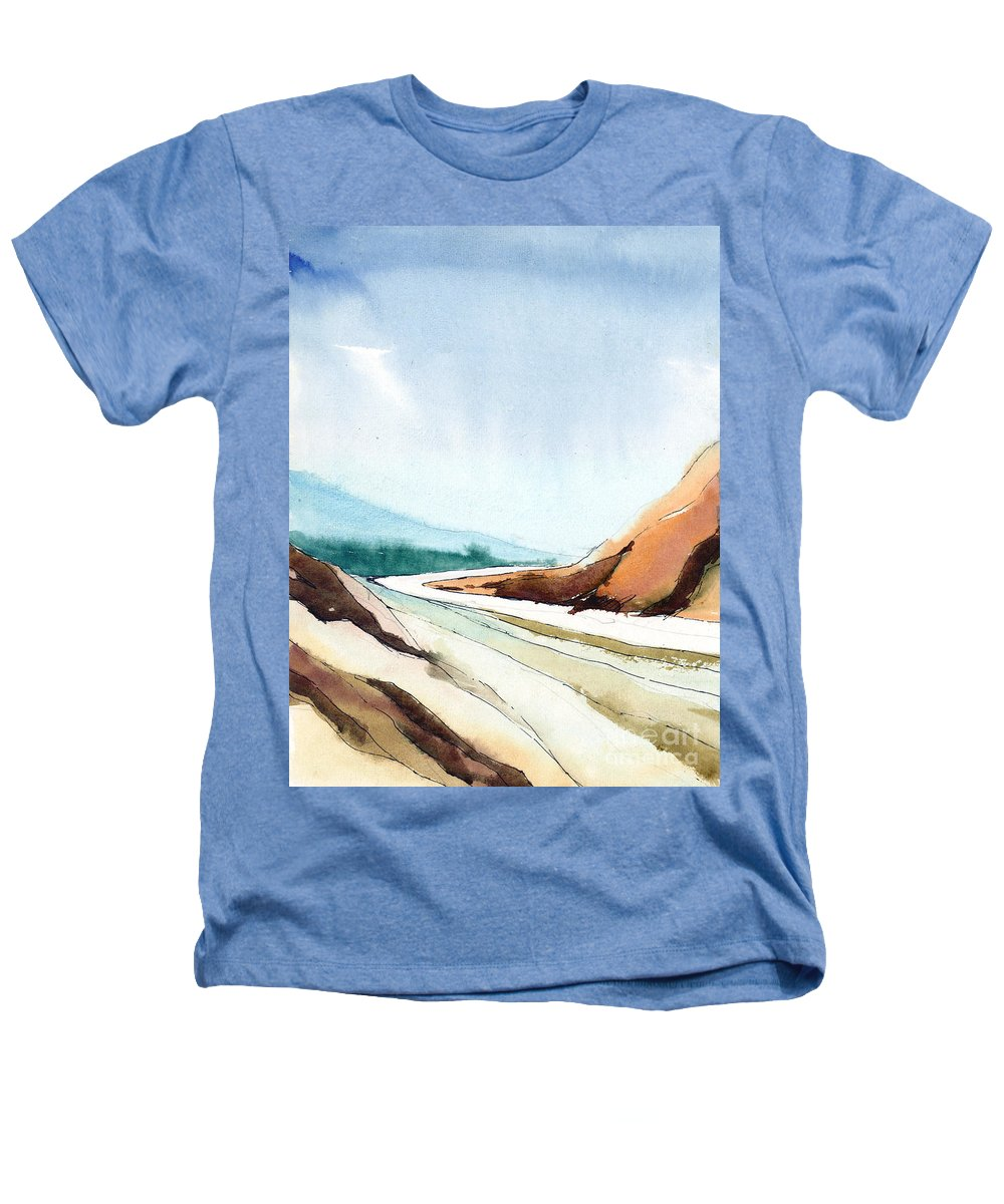 Landscape Heathers T-Shirt featuring the painting Far Away by Anil Nene