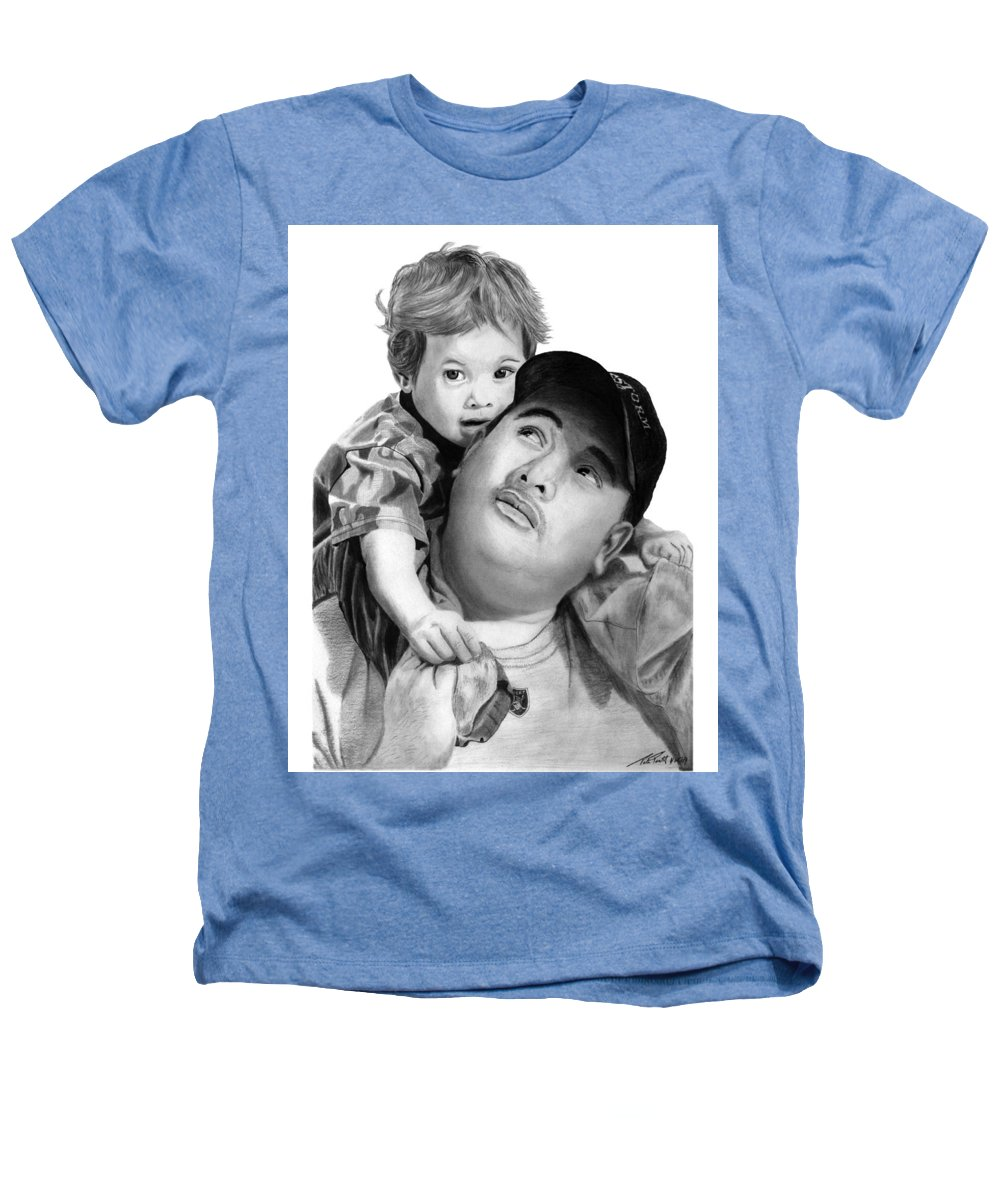 Father And Son Heathers T-Shirt featuring the drawing Father And Son by Peter Piatt